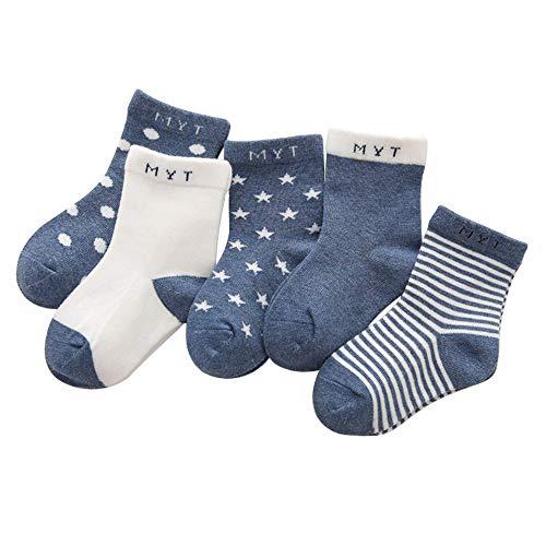ANIMQUE Kinder Baby Socken 0-12 Monate Jungen Mädchen Täglich Basic Baumwolle Crew-Socken 5er Pack Casual Schule Atmungsaktiv Bequem Dunkelblau