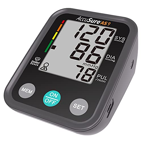 AccuSure AS9 Fully Automatic Upper arm Digital Blood Pressure Monitor Apparatus and Testing Machine, Separate Cuff, LCD Display with USB Port with 4 year Warranty, Black
