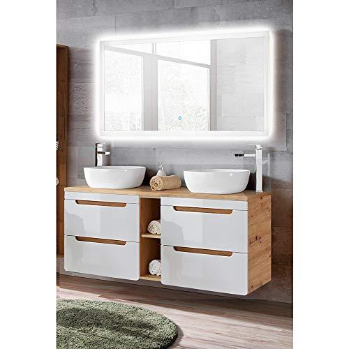 Lomadox Badmöbel Waschplatz Set in Wotaneiche, 140cm Doppel-Waschtisch mit Unterschrank und Regal, 2 Keramik-Waschbecken, LED-Spiegel mit Touch-Funktion