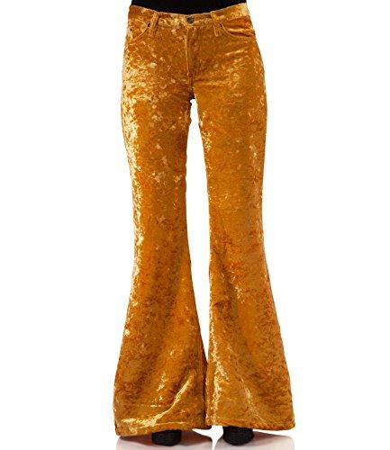 Bohemian Hippie Style fluwelen broek, goudkleurig