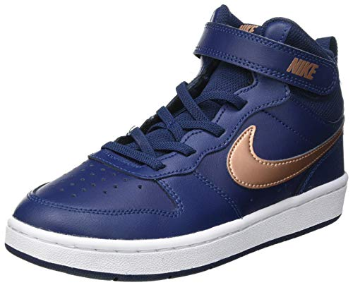 Nike Court Borough Mid 2 (PSV) Sneaker, Midnight Navy/Metallic Red Bronze-Midnight Navy-White, 33 EU