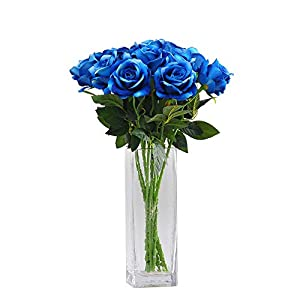 "cn-Knight Artificial Flower 22"" Long Stem Silk Velvet Rose Real Touch Faux Flower for Wedding Bridal Bouquet Bridesmaid Home Decor Office Hotel Baby Shower Party Prom Centerpiece"