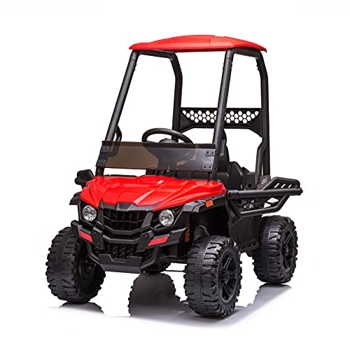 BISHE Powered UTV with Ceiling, Red Electric Ride-on Car for Kids, Toy Car with LED Headlights, 12V Large Battery Capacity Car Ride-on Toys, Utility Vehicle Toy Ride On with 2.4GHZ Remote Control -  BUS-CARW42229398RD
