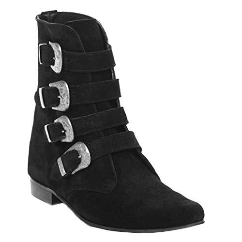 Boots & Braces - Winkelpiker 4 Schnallen Suede schwarz Größe 37 (UK3)