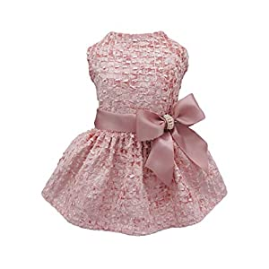 Fitwarm Embroidery Dog Dresses Pet Clothes Prom Dress Cat Party Gown Pink XS