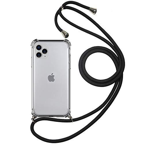 COCASES Catena per Cellulare Compatibile con iPhone 11 PRO Max, Cover per Telefono Cellulare con Cinturino per Appendere Cover in Silicone con Cavo e 1 portatessere per Cellulare (6.5', Nero)