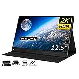 cocopar 12.5インチ/2K モバイルモニター/モバイルディスプレイ/薄型/IPSパネル/USB Type-C/標準HDMI/mini DP/保護カバー付/560g/3年保証 (カバー付)zg-125-2kp