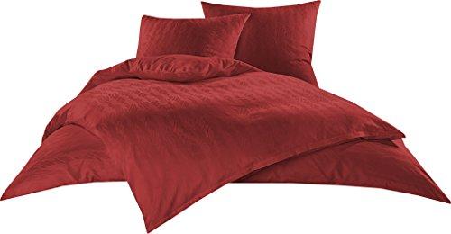 Bettwaesche-mit-Stil Mako Satin Damast Bettwäsche Garnitur Waves Rot (135 cm x 200 cm + 80 cm x 80 cm)