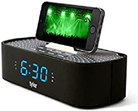 Tyler Bluetooth Alarm Clock Radio TAC501-BK With Stereo Speaker, FM Radio, USB Charging, AUX Line-in, Blue LED Display (0.6
