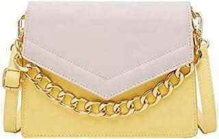 SODIAL Elegant Female Flip Small Square Bag Summer New Chain Handbag Contrast Color Shoulder Messenger Bag Yellow