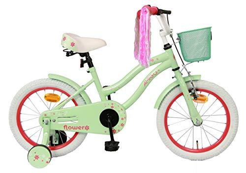 Amigo Flower - Bicicletta per bambini 16 pollici - Per Bambina di 4-6 Anni - Freno a mano, Freno a contropedale, Cestini per bicicletta e Ruote di Supporto per Bambini - Verde