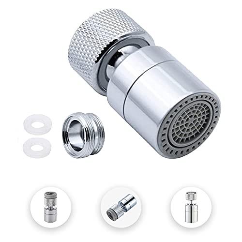 Filtro espumador de cocina para grifo de latón ajustable a 2 modos con adaptador de boquilla, apto para grifo con boquilla de rosca externa M22 o rosca interna M24