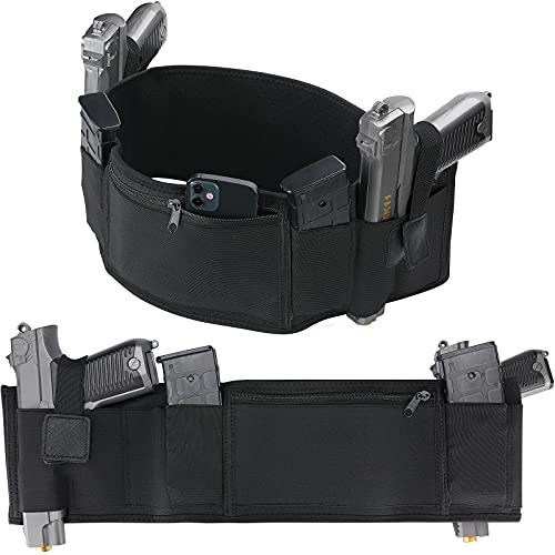 ProCase Belly Band Holster for Concealed Carry, Adjustable Neoprene Elastic Waist Holster with Zipper Pocket for Women & Men - Fits Most Size Pistols, Glock, Ruger, Sig Sauer, Smith Wesson –Black