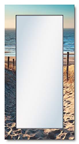Artland Ganzkörperspiegel Holzrahmen zum Aufhängen Wandspiegel 60x120 cm Design Spiegel Natur Landschaft Strand Meer Weg Nordsee Himmel T9IP