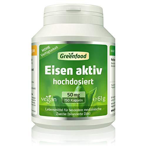 Greenfood Eisen aktiv, 50 mg, extra hochdosiert, 150 Kapseln, hohe Bioverfügbarkeit, hervorragende Verträglichkeit, vegan – wichtig für Blutbildung,