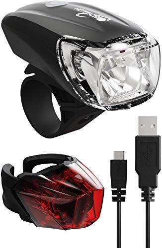 HEITECH StVZO Akku Fahrradlicht Set - Abblendfunktion, Tagfahrlicht, 180 Lumen, 100m Reichweite, regenfest, wiederaufladbar - Fahrrad Beleuchtungsset LED Fahrradbeleuchtung mit Frontlicht & Rücklicht