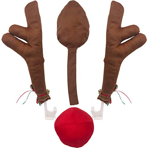 Hokic Car Reindeer Antlers & Nose Decorations Set Large Christmas Car Reindeer Antlers with Red Nose & Tail Decorations for Car Trucks Vans SUV Car Reindeer Christmas Antlers