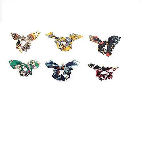 1SourceTek 6Pcs Large Bowknot Silk Satin Scrunchie Bow Hair Ring Strong Elastic Hair Accessories (6Pcs)
