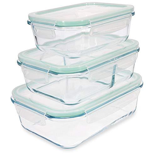 Navaris Set de 3 fiambreras de Cristal con Tapa - 3X Recipientes Variados herméticos antifugas para Horno microondas congelador y lavavajillas