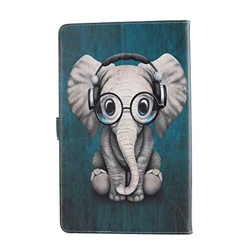 Tablette Hülle für Universal 10 Zoll (9.5-10.5 Zoll) - Tasche Leder Flip Case Etui Schutzhülle Smart Cover für 9.6 9.7 10.1 10.2 10.4 10.5 Tablet Elefant