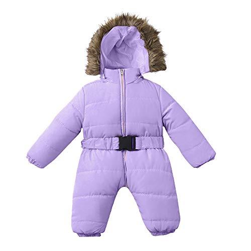 95sCloud Baby Mädchen Jungen Schneeanzüge Daunenanzug Winter Overalls Strampler Daunenmantel Jumpsuit Outfits Baby Schneeanzug Kleidung mit Kapuzen mit Künstliches Fell Kaputze (Lila, 24 Months)