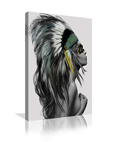 Indian Girl Chief Native American Canvas Wall Art Girl Colorful Feathered Women Prints Home Decor Decals for Living Room Bedroom Bathroom Decor Framed Ready to Hang - 24x36