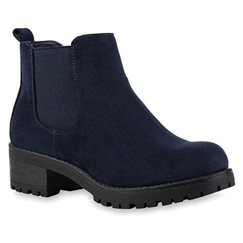 Stiefeletten Damen Chelsea Boots Profilsohle Blockabsatz Leder-Optik Booties Schuhe 121345 Dunkelblau Bernice 37 Flandell