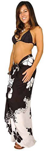1 World Sarongs Womens Hibiscus Flower Swimsuit Cover-Up Sarong in Black/White