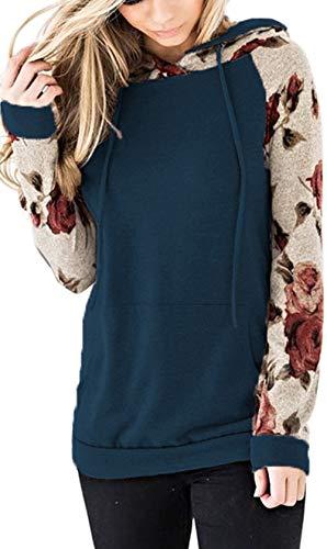 Nekosi Bequem Sanft Kapuzenpullover Tops Für Damen Blumen Sweatshirt Hemden Langarm Kordelzug Hoodie mit Tasche Blau X-Groß
