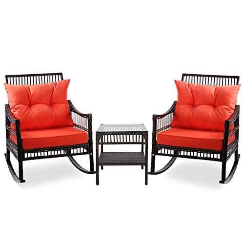 Mupater 3 Piece Outdoor Wicker Rocking Chair Set with Table and Cushions, Patio Rattan Rocker Set Porch, Orange