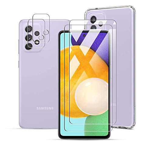 Fitudoos für Samsung Galaxy A52 5G/4G [2 Stück] Panzerglas Schutzfolie+ [2 Stück] Kamera Panzerglas+ [1 Stück] Transparent Silikon TPU Hülle, völlige Abdeckung,9H Festigkeit,[No-Bubble]