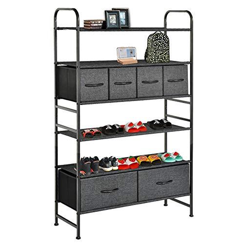 WAYTRIM 6-Tiers Shoes Shelf with 6 Removable Storage Bins Closet Shoe Storage Cabinet Organizer Multi-Purpose Closet Organization with Bins and Shelving - Dark Indigo