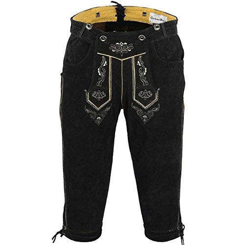 German Wear, Trachten Lederhose Kniebundhose Trachtenhose Hose mit Hosenträger, Größe:52, Farbe:Schwarz