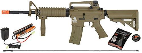 UKARMS Lancer Tactical M4A1 Airsoft Gun Rifle RIS SOPMOD AEG Metal Gears Raider w/ 9.6v Battery & Charger (Tan High Velocity)