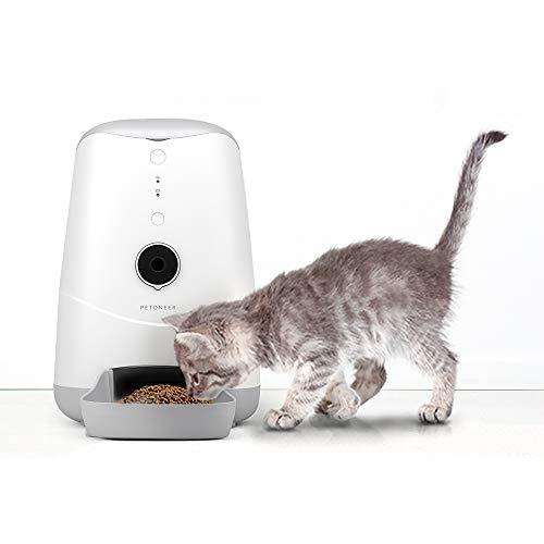 XYBB Distributore Cibo Gatti Auto Smart Feeder Dog Cat Pet Care Dispositivo con Camera Timer Voice Video Recorder WiFi Remote Enabled App per iPhone E Android L Tappo UE