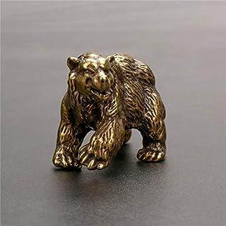 ZGPTX Pure Copper Brown Bear Statue Ornament Solid Brass Polar Bear Figuriens Miniatures Tea Table Pet Desk Decors Crafts
