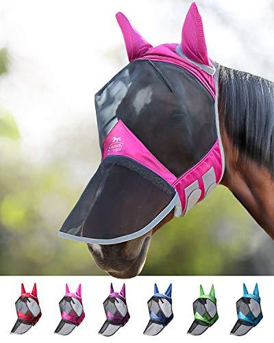 Harrison Howard CareMaster PRO Luminous Maschera Anti-Mosche per Cavallo UV Protezione Pieno Volto Rosa (L; Full Size)