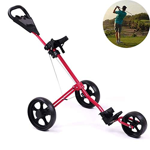 Buy ROCK1ON 3 Wheel Golf Push Cart Lightweight Foldable Golf Trolley Holder with Adjustable Push Handle and Scorecard and Foot Brake Swivel Easy to Open & Close