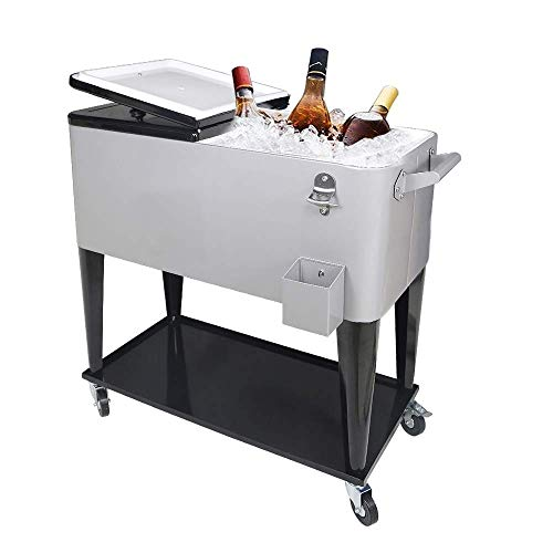 SHAREWIN 80 Qt Rolling Cooler Cart Ice Chest for Outdoor Patio Deck Party Portable Party Bar Cold Drink Beverage Cart Tub, Backyard Cooler Trolley on Wheels with Shelf,Bottle Opener Silvery
