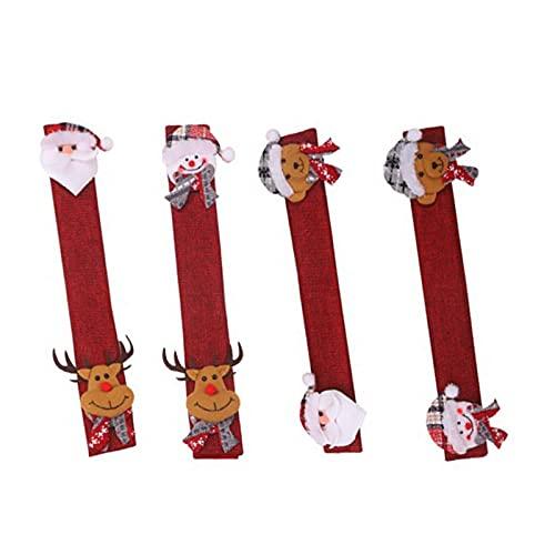Xuebai Fundas para manija de nevera con diseño de Navidad para horno de refrigerador