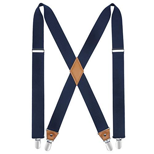 HISDERN Bretelle per uomo con molto forte 4 clip Bretelle Heavy Duty Bretella regolabile blu Navy