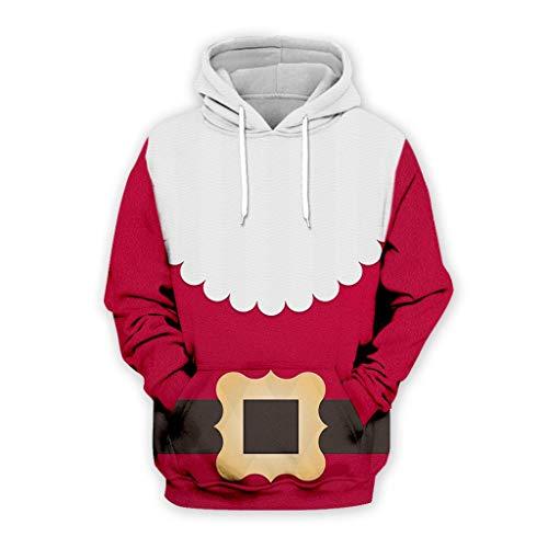 GreatestPAK Weihnachten Hoodie Herren 3D Weihnachtsmann Gürtel Musik Print Langarm Hoodie Top Party Casual Jacke,Rot,Etiketten:3XL(Büste:120cm)