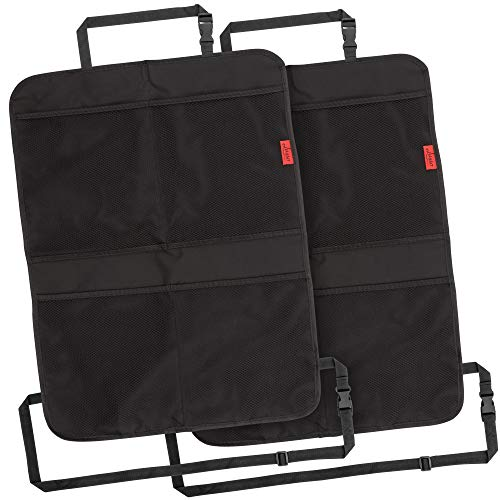Lusso Gear Kick Mats (2 Pack) - Car Seat Back Protectors, Premium Waterproof Fabric, Reinforced Corners to Prevent Sag, and 4 Mesh Pockets for Large Storage