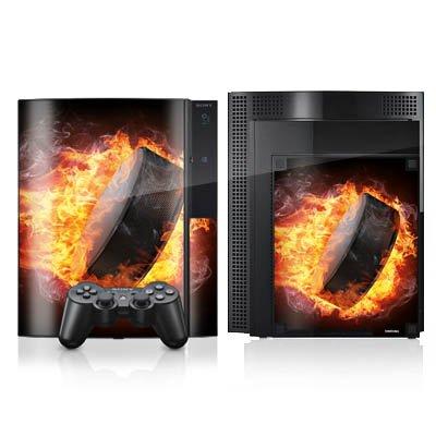 DeinDesign Skin kompatibel mit Sony Playstation 3 Folie Sticker Eishockey Feuer