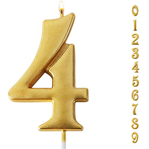 Gold Glitter Birthday Candles,Number 4 Candles,Sparkler Candles for Birthday Cakes,Suitable for Kids and Adults, Can Decorate Birthday Parties, Wedding Anniversary Parties, Graduation Party, Etc