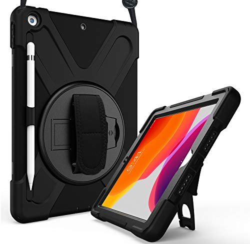 ProCase iPad 10.2 Case 2019 7th Gen iPad Case, Rugged Heavy Duty Shockproof 360 Degree Rotatable Kickstand Protective Cover Case for iPad 7th Generation 10.2 Inch 2019 (A2197 A2198 A2200) -Black