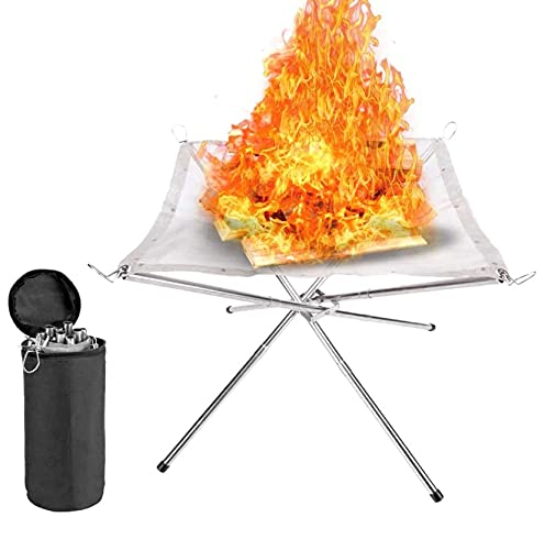 eBoutik - Portable Steel Mesh Camping Fire Pit for Wood Burning - Collapsing Folding Legs & Carry Bag - Great for Picnics, Camping, Bonfires, Staycations or Home Gardens