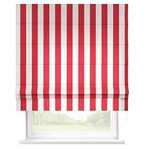 Raffrollo Rot/Weiß gestreift - maßgefertigt, auch ohne Bohren anzubringen