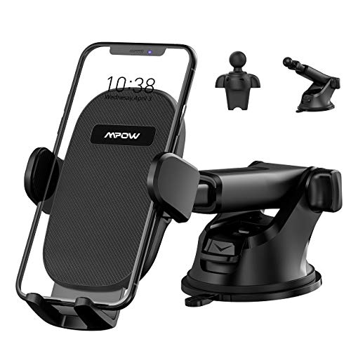 Mpow Car Phone Mount, Phone Holder for Car Dashboard Air Vent Windshield, Car Phone Holder with Twist-Lock Clip and Strong Suction Cup, Compatible iPhone 11 Pro MAX XS XR X 8 7 6Plus Etc