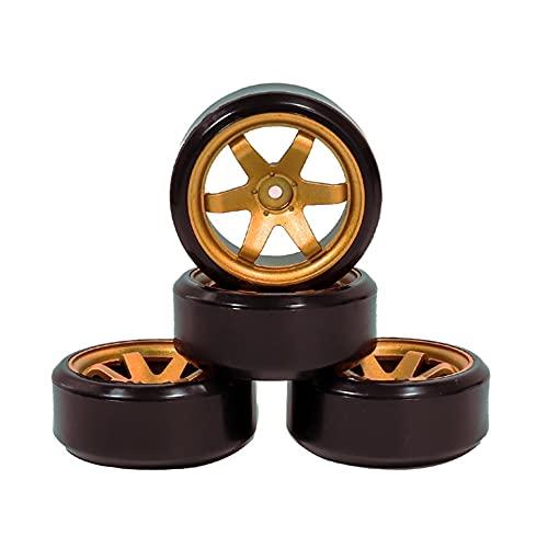 (H) llantas de barras 4pcs 1/10 deriva en los neumáticos de autos de carretera llantas Hub RIM 60mm para 1:10 RC HPI SAKURA TT01 D4 ACCESORIOS DE COCHE Ruedas y neumáticos hexagonales de 17 mm.